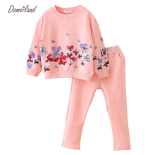2017 spring brand children's outfits Princess clothes sets for kids girl flower cotton sport sweater pants suit clothing