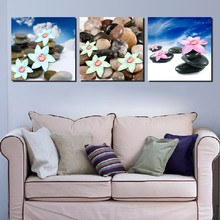 3 Panel Modern Painting Home Decorative Art Picture Paint on Canvas Prints Pebbles and daffodils(China)