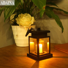 ADAINA Vintage Solar Powered LED Candles Lantern Outdoor Hang Lamp Light Outdoor Waterproof Street Lighting Auto On/Off(China)