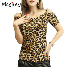 Magiray Plus Size 4XL Leopard T Shirt Women Off Shoulder Top Summer 2017 Fashion Backless Tee Shirt Femme V Neck T-shirt C526(China)