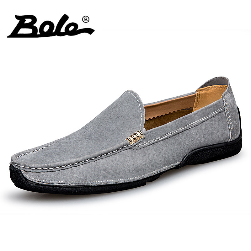 BOLE Brand Fashion Men Loafers Summer Soft Moccasins Men Casual Shoes High Quality Genuine Leather Shoes Men Flats Driving Shoes<br>
