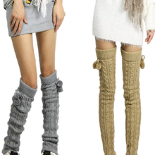 New 2017 fashion knee high leg warmers casual crochet gaiters women winter thick knit boot socks with  ball