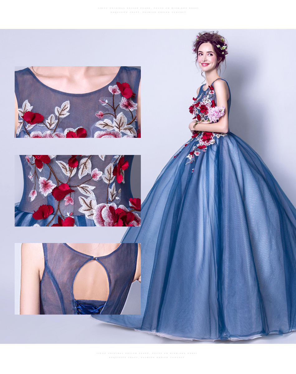 Angel Wedding Dress Marriage Evening Bride Party Prom Bridal Gown Vestido De Noiva Blue camouflage, fantasy flowers 2017 7572 6