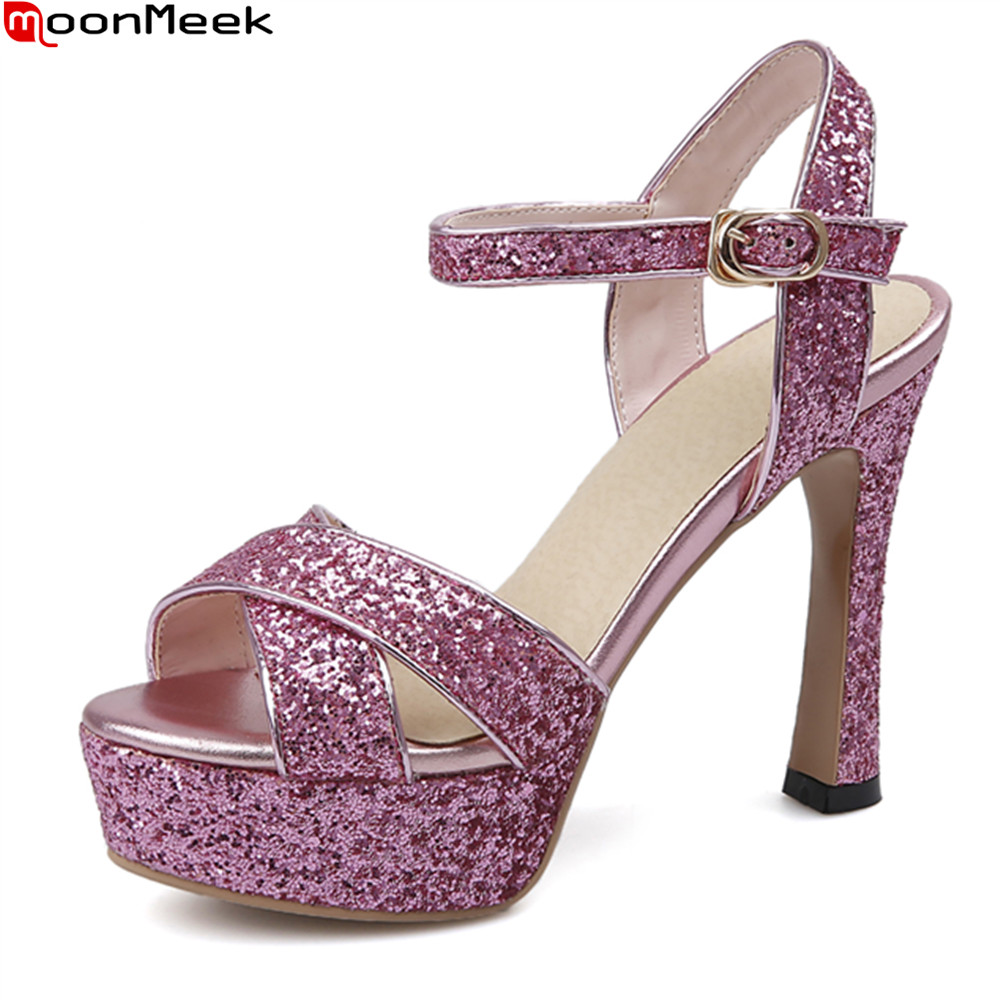 MoonMeek 2018 summer casual shoes peep toe extreme high heel with buckle spike heels party shoes sexy women sandals<br>