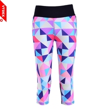 VTDEX 2017 Elastic Fitness Tights Yoga Pants Women Limited Real Mallas Running Mujer Rhombus 3/4 Capri Sports GYM Girl Leggings(Hong Kong)