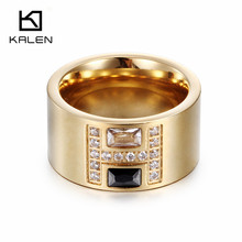 Kalen Fashion Rings For Women 2016 Black/Blue/White Zircon Italy Gold Color Stainless Steel Ringen For Party Engagement Wedding