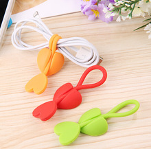 50PCS Cute Love Heart Earphone Headphone Winder Cable Cord Wrap Organizer Holder For Food bags Free shipping(China)