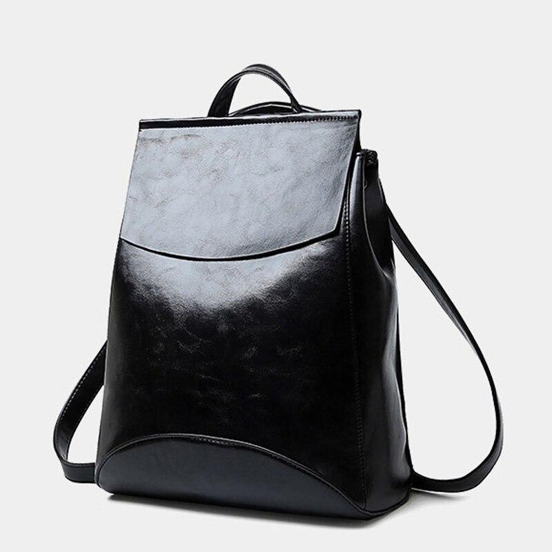 2017 Brand Famous Waterproof Black Leather Vintage Backpack Women Schoolbag Students School Bags For Teenagers Back Pack <br><br>Aliexpress