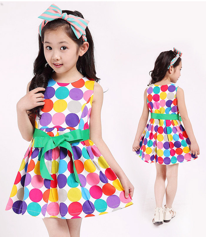 Toddler girls dress 2016 new fashion colorful polka dots princess party dress kids summer sleeveless tutu dresses 3T~12<br><br>Aliexpress