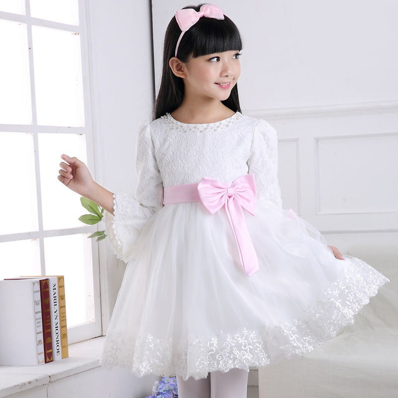 New 2017 fall clothes fashion girl pearl lace Embroidered dress flowers party Bows girl dress childrens birthday gowns clothing<br><br>Aliexpress