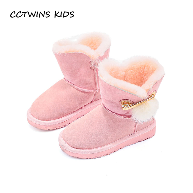 CCTWINS KIDS 2017 Winter Children Rhinestone Mid Calf Boot Girl Genuine Leather Shoe Baby Toddler Warm Snow Boot Boy CS1552<br>