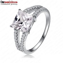 LZESHINE Exaggerated Fashion Rose Gold/Silver Color Big Square Shape Clear AAA  Zircon Women's Rings 2016 Free Shipping CRI0011