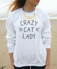 CRAZY CAT LADY Print Harajuku Women Sweatshirt Jumper Casual Hoody For Lady Funny Hipster Street Black White Christmas TZ203-81