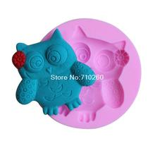 carton owl shape fondant 3D molds, silicone mold, candle moulds, sugar craft tools, chocolate moulds, bake ware G073(China)