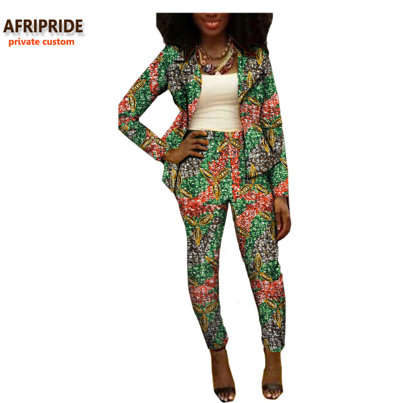 2019 Autumn african women suit AFRIPRIDE private custom two-pieces full sleeve top+ankle lengthpant casual suit plus sizeA722615