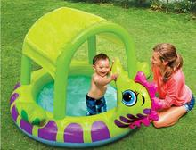 INTEX 57110 inflatable baby pool hippocampus covered sun shade baby pool paddling pool ocean ball pool size 155*135*104CM(China)