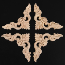 "4pcs 8*8cm/3.15""*3.15"" Retro Wood Carving Decal Corner Applique Frame Door Decorate Wall Doors Decorative Figurines Wooden"