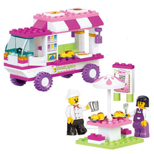 102Pcs B0155 Snack Car Building Blocks DIY Particles Bricks Pink Dream Girls Friends Toys Figure Kids Toys Playmobil Brinquedos
