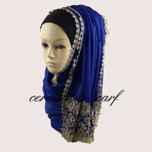 New Style Lace Shiny Viscose Hijab Charming Shawls Wraps Embroidery Scarves With Pattern Flower Tassel Free Fast Shipping