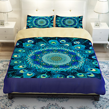 3/4PC Customized Design Bedding Sets Home Textiles Peacock Open Screen 3D Style Duvet Cover Bed Sheet Pillowcase EMS/UPS/FedEx