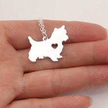 1pcs Cute Westie Necklace Pendant Puppy Heart Dog Lover Pet Necklaces & Pendants Women Animal Charms Christmas Gift Lead Free