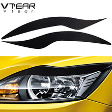 Vtear For Focus 2 mk2 headlights brow sticker headlamps carbon fiber Exterior cover car-styling decoration products 2009-2014(China)