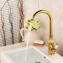 2016 New Design Bathroom Golden Faucet Antique Copper Marble Stone Taps Noble&Elegant Crystal Basin Swivel Sink Mixer ZR496(China)