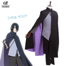ROLECOS NEW Anime Boruto: Naruto the Movie Uchiha Sasuke Cosplay Costume Full Set Shirt+Vest+Pants+Cape GC144A