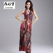 Buy plus size Floral print halter long dress Women 2017 summer maxi dress vestidos Sexy open back beach wear v-neck boho tube dress