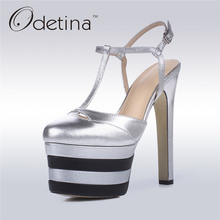 Odetina 2017 New Brand Genuine Leather Extreme High Heels Sexy Platform Pumps Women Ankle Strap Summer Party Shoes Big Size 42(China)