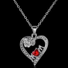Crystal Heart Mother's Day Pendant Necklace Red Rhinestone Gifts Necklaces Vintage Design Family Party Mom Jewelry