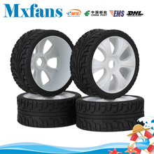 Mxfans 4 x RC 1:8 Off Road Car  6 Spoke Plastic Wheel Rim + High Grip Rubber Tyre
