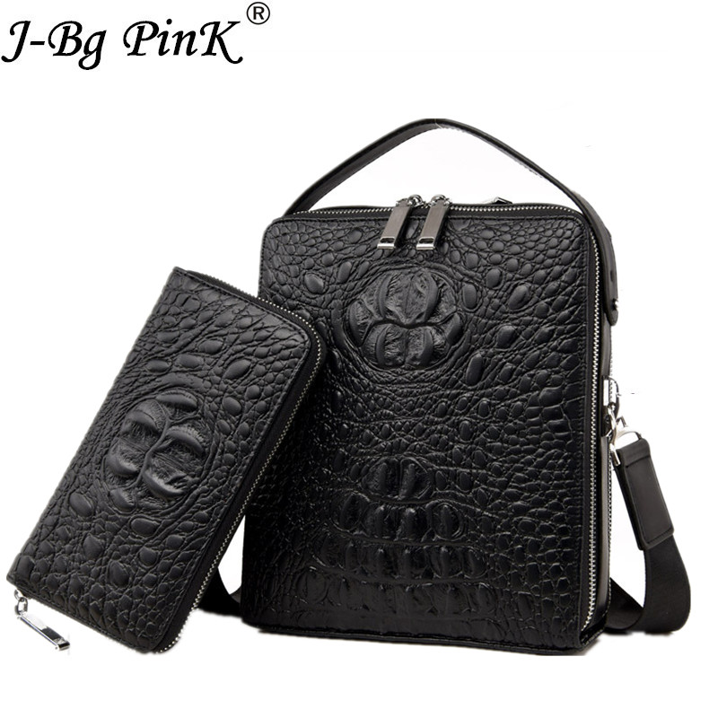 2018 New Mens Bag Crocodile Pattern 100% Genuine Leather Briefcases Men Shoulder Bag Messenger Bag Business Handbag 2 pieces se<br>