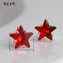 9 Color Hot Sale Star Earring For Girl 8mm Crystal Stud Earrings Geometric Rhinestone Minimalist Women Jewelry PULATU XX888