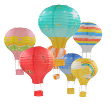 10inch 25cm Rainbow Hot Air Balloon Paper Lantern 1pc Wedding Decoration Children's Bedroom Hanging Birthday Party Decorations