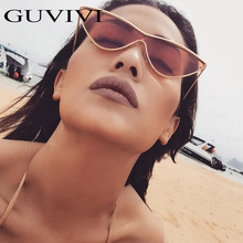 2018 Classic Brand Designer Cat Eye Sunglasses Women Metal Frame Retro Mirror One Piece Sun Glasses Female Shape lunettes femme(China)