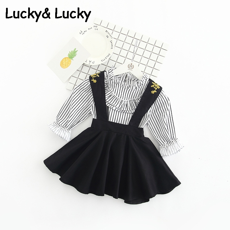 Fashion girls clothes long sleeve cotton shirt+embroidery strap dress cute costume for kids<br><br>Aliexpress