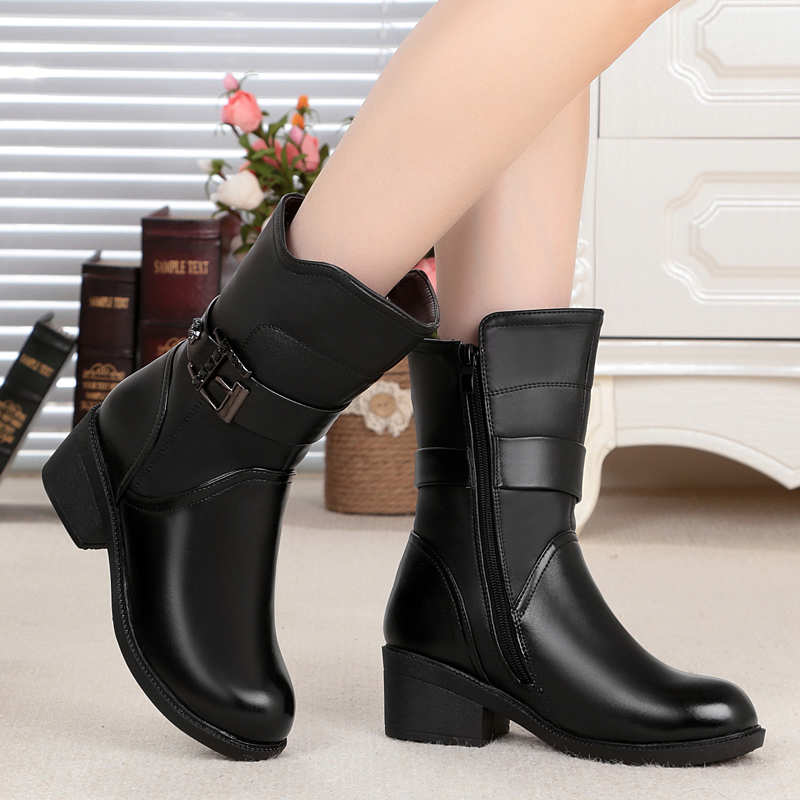 2016 autumn and winter new high-quality natural genuine leather womens boots with thick wool snow boots designer Martin boots<br><br>Aliexpress