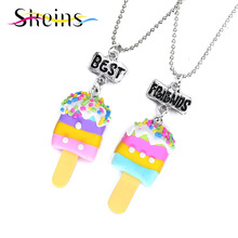 Buy Skeins BFF Jewelry 2pcs/Set Best Friends Charm Soft Ceramics Popsicle Pendants Necklace Food jewelry Kids Ice-Cream Necklace for $2.26 in AliExpress store
