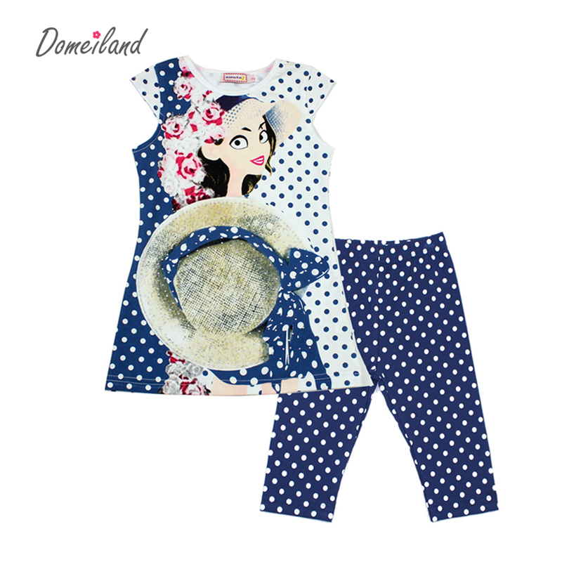 2017 fashion summer brand domeiland children clothing girls outfits 2pcs sets short sleeve print polka Dot shirts pant suits<br><br>Aliexpress