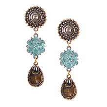 OMGALA Popular Now Ethnic Vintage Flower Clip On Earrings for Women Light White Crystal Resin Antique Bronze Plated Jewelry(China)