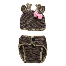Children Sun Beach Cute Fashion Caps Baby Cute Hat Caps Baby Newborn Hand Crochet Knit Children Hats 2PCS Set(China)