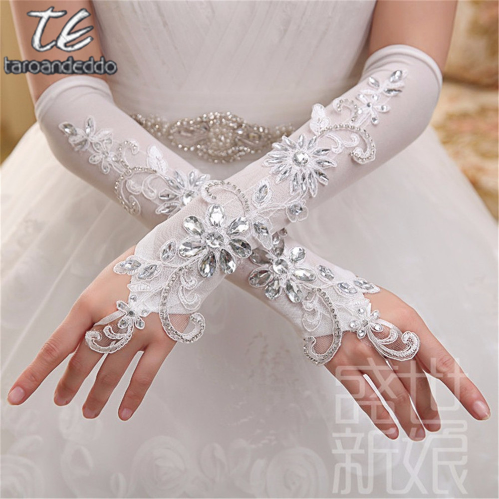 Elegant White Fingerless Long Wedding Gloves Elbow Length Formal Gloves Women Sparkle Crystal Beaded Bridal Gloves