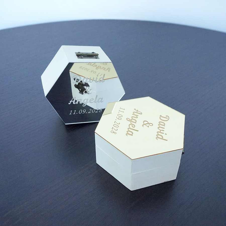 Hexagon Shape Box With Mirrored Cover Custom Made Name Party Gift Wood Boxes Wedding Candy Holder Display Decor