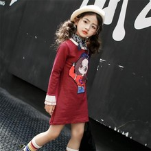 new fashion 4-15 years old spring autumn child clothes girl striped dress baby cartoon dresses children clothing kids dress