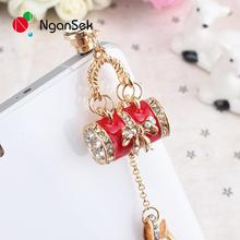 NganSek 3.5mm Crystal Rhinestones Cellphone Charms Earphone Audio Headphone Anti Jack Crown Dust Plug Phone Red Cyan Stars