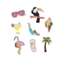 Coconut Tree Sunglasses Pink Flamingo Lemon Juice Ice Cream Sports Girl Brooch Denim Shirt Button Pins Beach Style Brooches