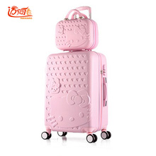 "Hello Kitty suitcase vintage suitcase 20""22""24""26""28"" inch with 14"" make up case child suitcase girls waterproof spinner trolle(China)"