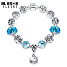 ELESHE Lovely Hello Kitty Charm Bracelets With Blue Murano Glass Classic Beads Bangles for Women Children DIY Jewelry Gift