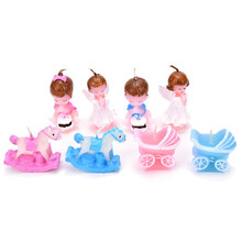1PC Cute Baby Carriage Angel Trojan Candle Favors Christening Birthday Cake Decoration Gift(China)